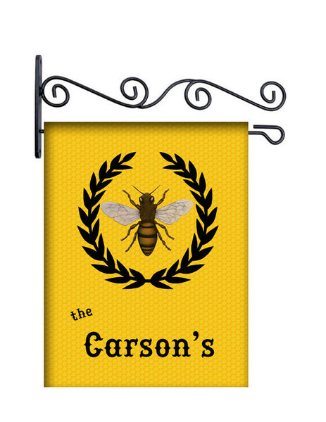 Monogram Bee Personalized Yard Flag