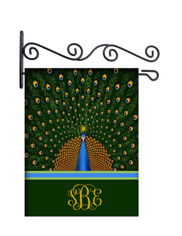 Pretty Peacock Custom Personalized Yard Flag - 13.5 by 18.5 inches - your name and or initial