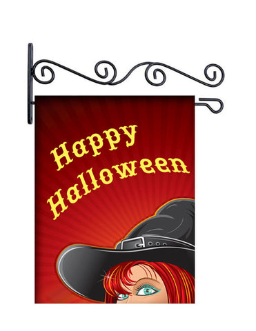Happy Halloween Witch Custom Personalized Yard Flag - 13.5 by 18.5 inches - your name and or initial