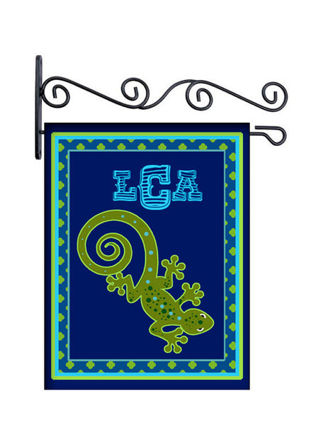 Gecko Blues Personalized Yard Flag
