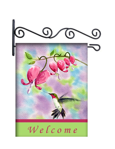 Hummingbird Watercolors Personalized Yard Flag