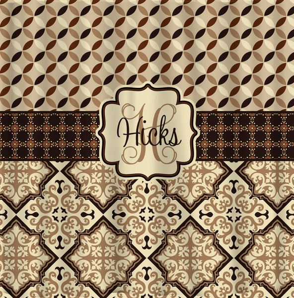 Custom Personalized Designer Shower Curtain -Country Mediterranean Browns and blacks-  Std and Ex Long