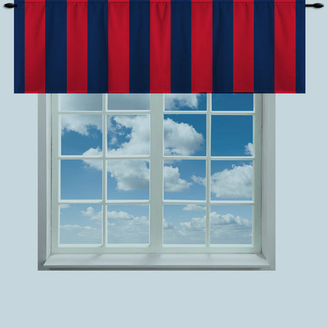 Rugby Stripe Red & Blue Valance-Curtain Vertical or horizontal- Your Size - Stripes approx 3.5 inches - available other colors