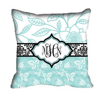 Personalized Throw  Robin Egg Blue Pillow Covers - Custom with your Name or Initials -  Bold Floral Inspired Designs - two sizes available