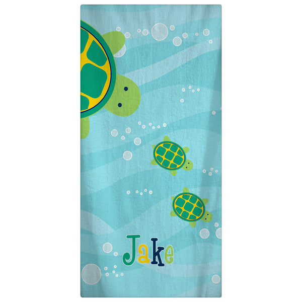 Personalized  Modern Turtles Towels - Navy with Lime and Yellow Accent  on Ocean Blue Waves -add Monogram available Hand , Bath and Beach