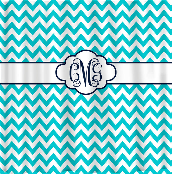 Personalized Shower Curtain -Pool Blue & White Chevron with Navy accents