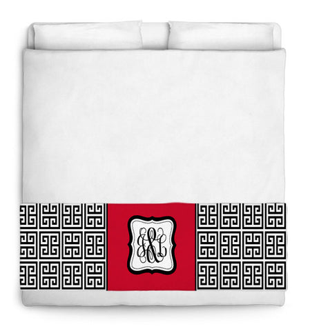 Custom Personalized Bed Runner - Scarf - Black & White Greek Key with Solid Color Inset Your Colors - 3 bedding sizes
