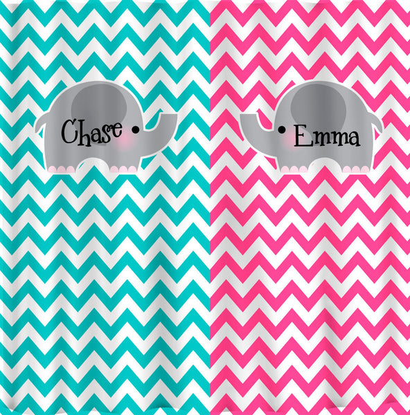 Split Color Elephant Theme Chevron Shower Curtain -Hot Pink and Turquoise Chevron - any two color combinations
