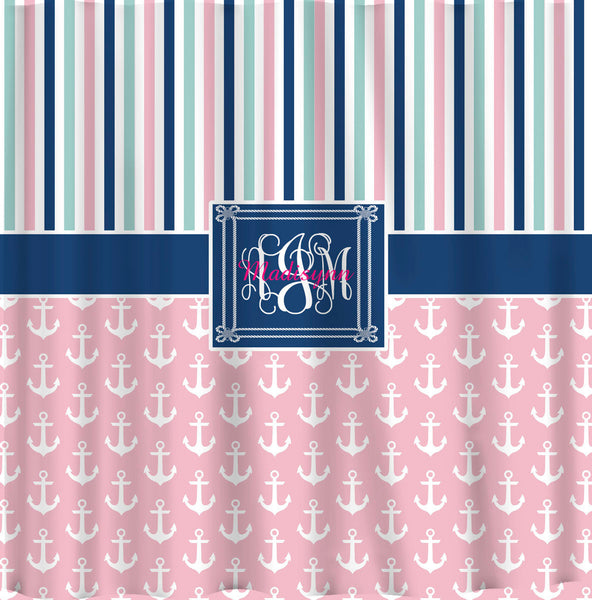 Anchor and Stripe Designer Shower Curtain- Personalized - Any color - available sizes 70x70 0r 70x90""