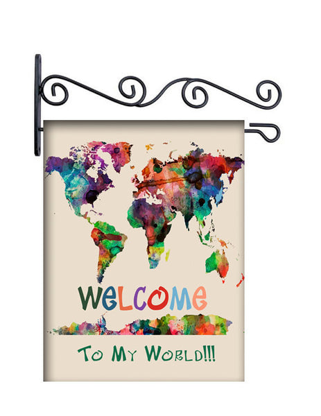 Welcome To My World Personalized Yard Flag