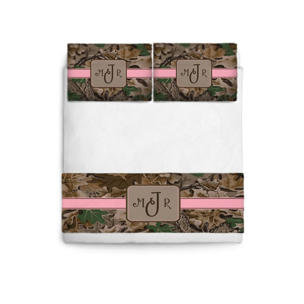 Custom Personalized Camo Theme Bed Runner Scarf & coordinated Pillows- - Tw,Qu,Ki  Shown Blush Pink and Turquoise