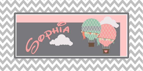 Personalized Chevron and Hot Air Balloon Theme Plush Fuzzy Area Rug -Size 48x30, 60x48, 96x48  - any color - any design