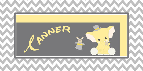 Personalized Chevron Elephant & Rabbit Design Plush Fuzzy Area Rug - Size 48x30, 60x48, 96x48- any color - any design