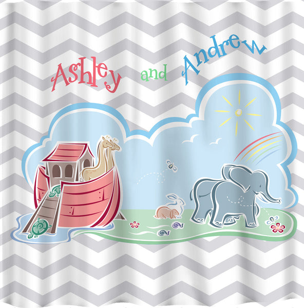 Custom Noah's Ark and Chevron Shower Curtain - Standard or ExLong
