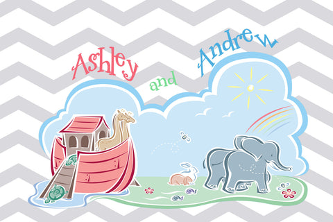 Plush Bath Mat Noah's Ark & Chevron - 30x20 inches - Designed to match any shower curtain design