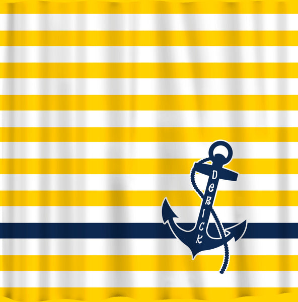 Personalized Shower Curtain Yellow and White Bold Stripe with Navy Anchor