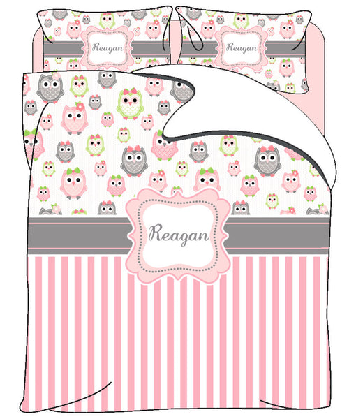 Owls and Stripe Custom Personalized Bedding- Available Twin, Queen or King Size- Any Colors