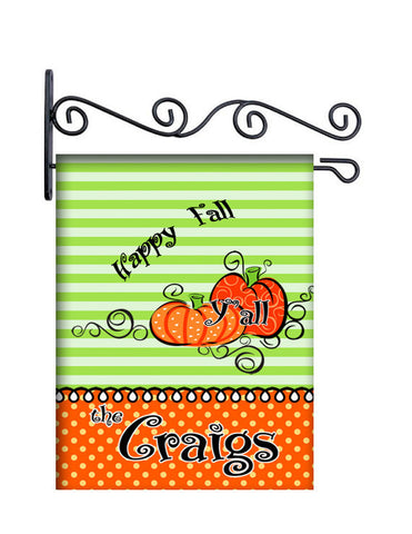 Happy Fall Y'all Custom Personalized Yard Flag - 13.5 by 18.5 inches - your name and or initial