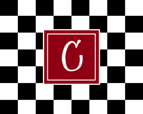 Black & White Checkered Plush Fuzzy Area Rug and monogram -Size 48x30, 60x48, 96x48-Other Color Selections available
