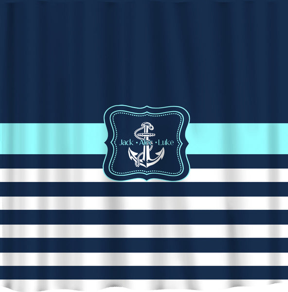 Personalized Shower Curtain - Navy Half Solid- Navy & Wht Stripes with Anchor -available any color stripe or anchor - add name