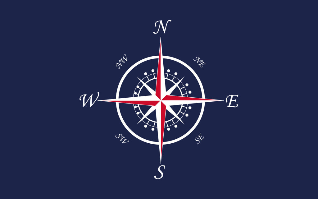 Navy With Red Or Cool Blue And White Compass Rose Plush Fuzzy Area Rug   Size ...
