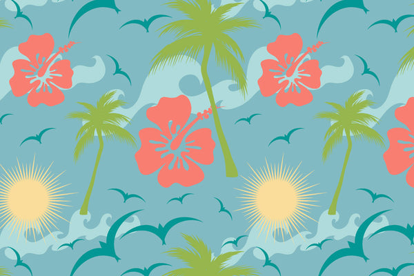 Custom Personalized Tropical Flowers Theme Bath Mat - 30x20