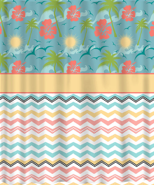Custom Personalized Shower Curtain - Tropical Flowers & Fancy Chevron in Muted Beach Colors- add name