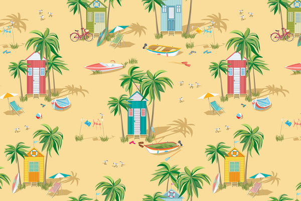 Custom Personalized Beach Hut Theme Bath Mat - 30x20
