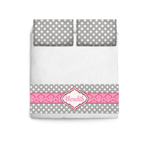 Custom Personalized Bed Runner - Scarf - Grey & White Polka Dots with Hot Pink Accent- 3 bedding sizes