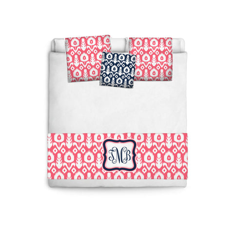 Custom Personalized Bed Runner - Scarf - Coral and White Ikat with Navy Accent- 3 bedding sizes