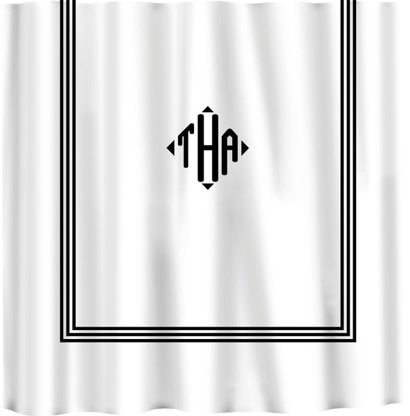 Custom Shower Curtain -Simplicity-3 Stripe Border and monogram in your colors - can do any color frame or monogram