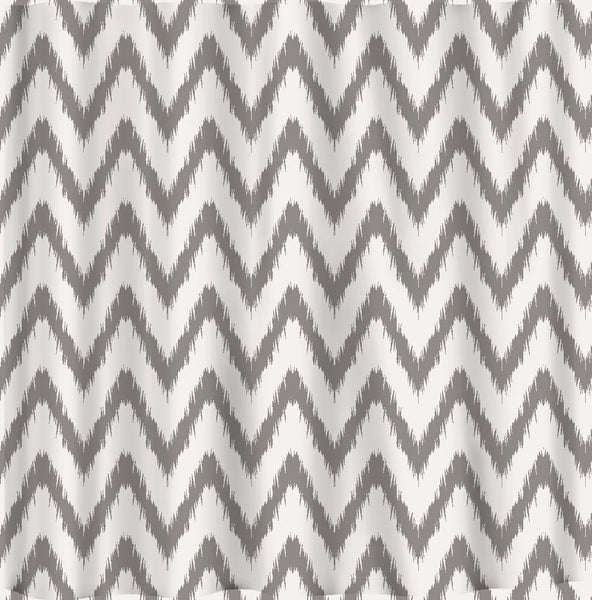 Custom Personalized Traditional Ikat Chevron Shower Curtain  - ANY COLOR Choice - standard or ex long sizes