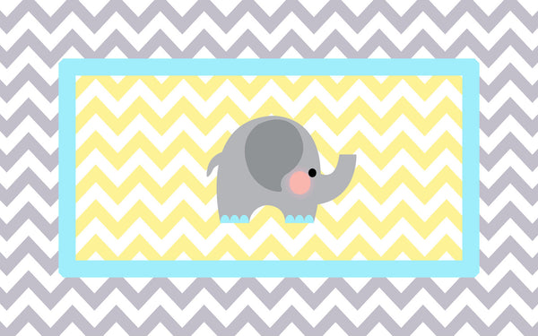 Elephant Theme Plush Fuzzy Area Rug -Grey and Yellow Chevron with Aqua Accent- Size 48x30, 60x48, 96x48-Other Colors available