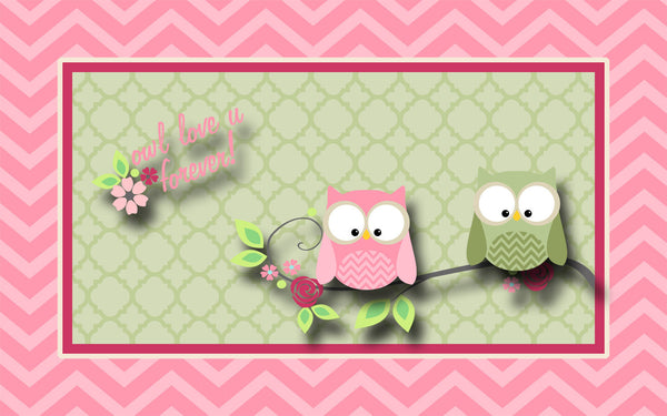 Owl Love U Forever Theme Plush Fuzzy Area Rug - Pink and Sage Green -Size 48x30, 60x48, 96x48-Other Colors available