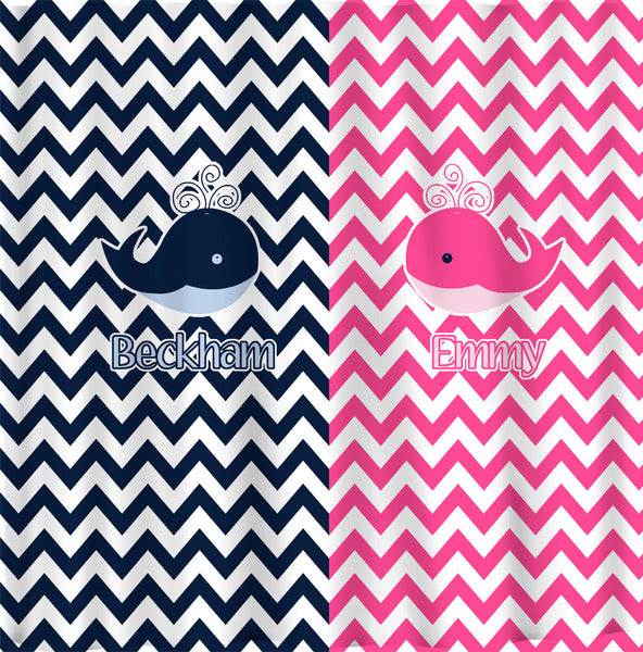 Personalized Shower Curtain -Hot Pink and Navy -Shared Curtain available Chevron children's whale theme