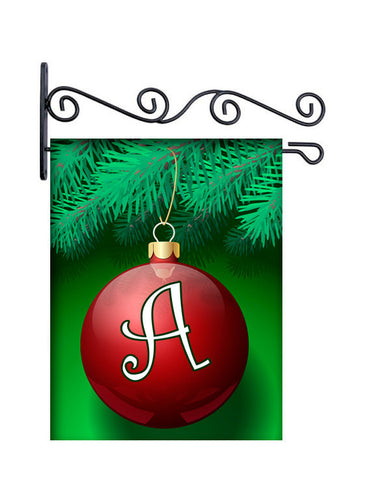 Monogram Ornament Christmas Custom Personalized Yard Flag - 13.5 by 18.5 inches - your name and or initial