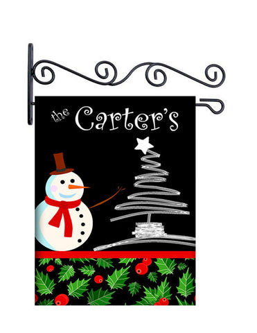 Holly Jolly Christmas Custom Personalized Yard Flag - 13.5 by 18.5 inches - your name and or initial