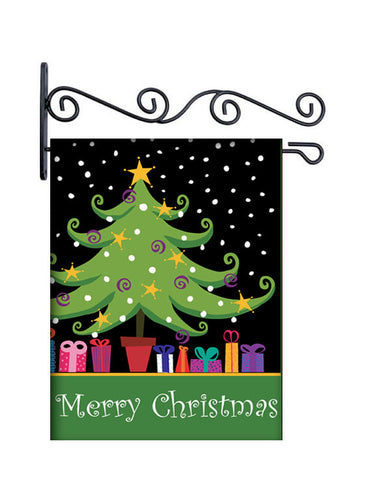 Merry Christmas Tree Custom Personalized Yard Flag - 13.5 by 18.5 inches - your name and or initial