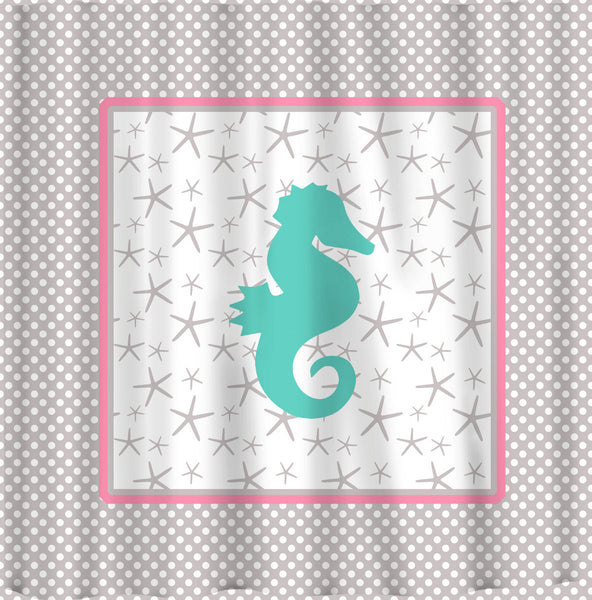 Monogrammed Seahorse Starfish and Polka Dot Shower Curtain - Personalized - Any Color