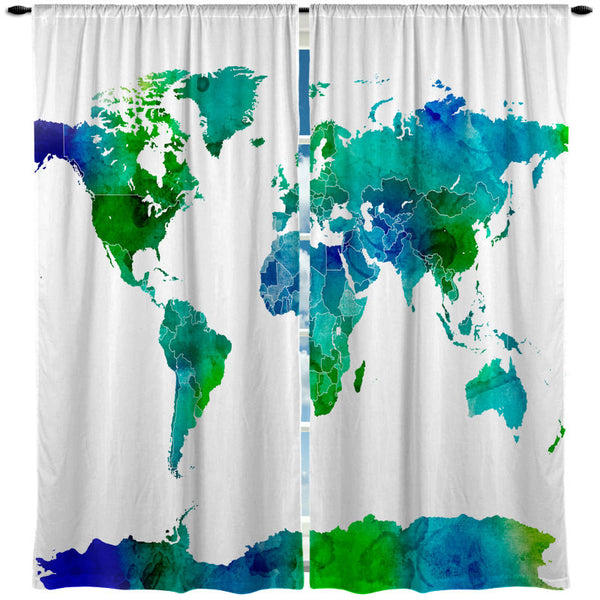 Custom Window Curtain Watercolor World Map- Blue and Green on white or Natural background Any Size