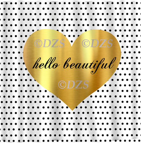 Hello Beautiful Metallic Gold EFFECT Heart Shower Curtain - Available two sizes