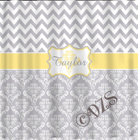 Custom Personalized Damask and Chevron Shower Curtain - Shown in Grey and white with Pastel Yellow Accents - ANY Color