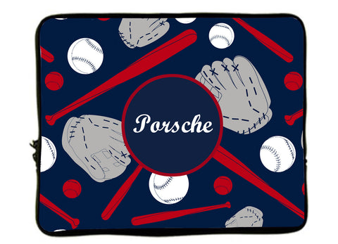 "Personalized Monogram Designer Style Laptop Sleeves -Navy Red and white softball Design- 13""and 17"""