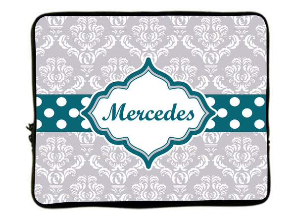 Personalized Monogram Designer Style Laptop Sleeves - Grey Damask & Teal Polka Dot divider-13 Inch  and 17 inch