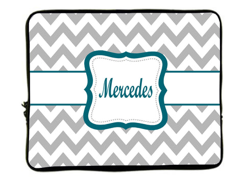 "Personalized Monogram Designer Style Laptop Sleeves - Chevron GREY with teal monogram - 13""  and 17"""