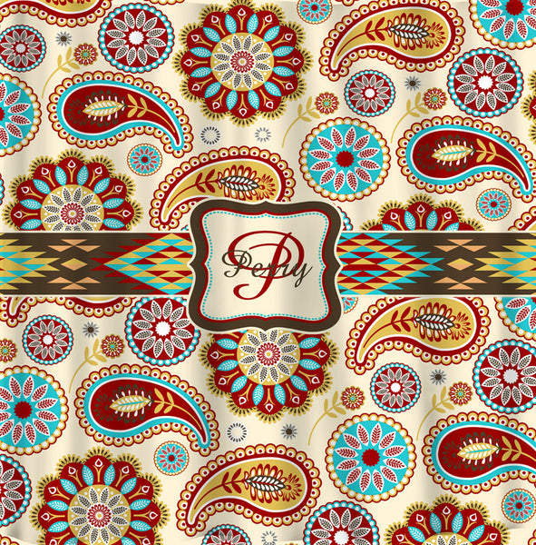 Personalized  Designer Southwestern Inspired  Paisley Shower Curtain -Earthtones- Personalized Your Initial(s) and/or names
