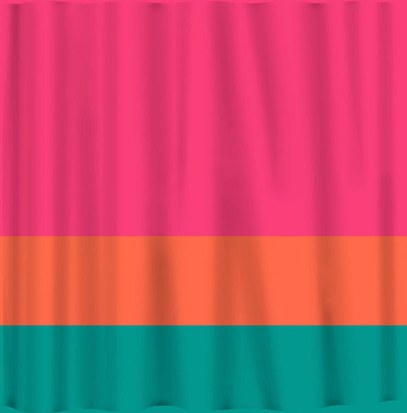Custom Color Block Shower Curtain - Any Color - shown Hot Pink-Orange-Teal- Standard or ExLong