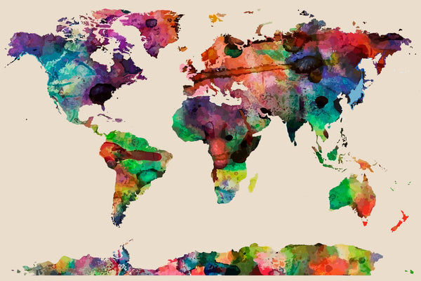 Plush Bath Mat  Watercolor World Map- 30x20 inches - Designed to match any shower curtain design