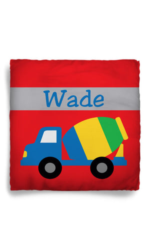 Personalized Throw Pillow Construction Theme Truck  - Custom with your Name or Initials - two sizes available