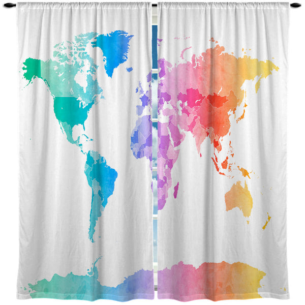 Custom Window Curtain Pastel Watercolor World Map- Any Size